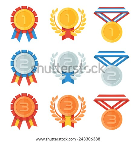 Gold, silver, bronze medal in flat icons set. - stock vector