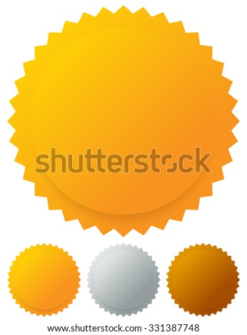 Gold silver bronze medals, badges - stock vector