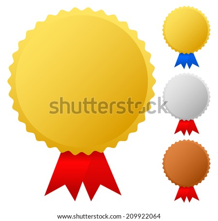 Gold, silver, bronze medals, badges vector graphics. Trophy, winners, top 3 places, honor, award, ribbon vector. - stock vector