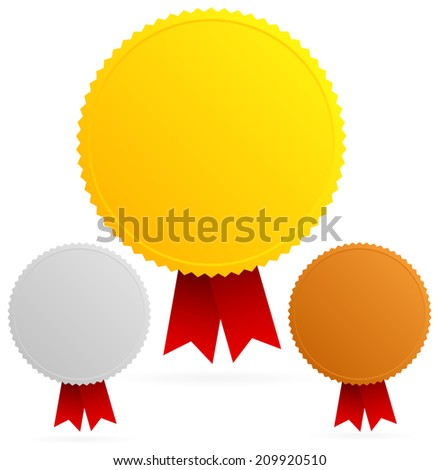Gold, silver, bronze medals with red ribbon - stock vector