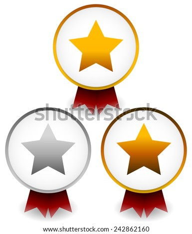 Gold, silver, bronze star badges with ribbons for award, prize, championship, reward themes. - stock vector