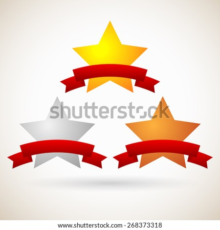 Gold, Silver, Bronze Stars with Blank Red Banners - stock vector