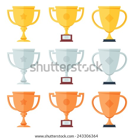 Gold, silver, bronze trophy in flat icons set.