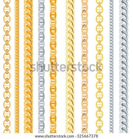 Gold, Silver Chains Set. Shiny element. Vector Illustration EPS10 - stock vector