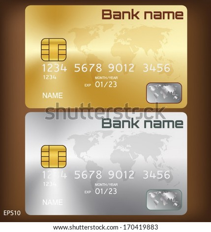 goldsilver credit card or smart card template design