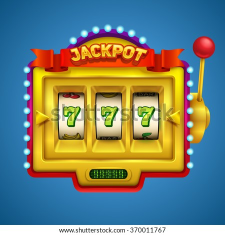 Gold slot machine illustration. - stock vector