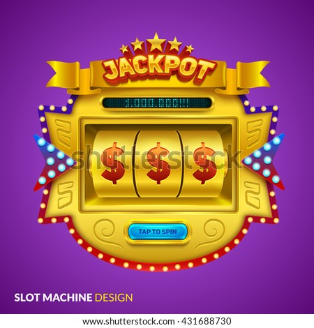 Gold slot machine illustration. Eps10 vector. - stock vector