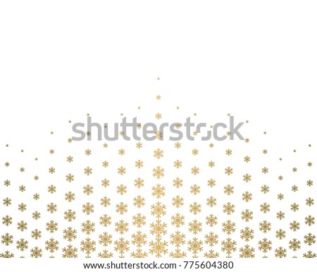 gold snowflake, Christmas ornament, border, pattern, halftone effect