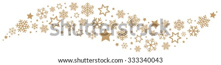 Gold Snowflakes and Stars Border