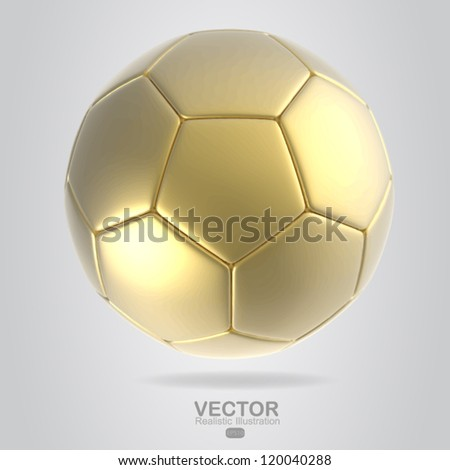 gold soccer ball - stock vector