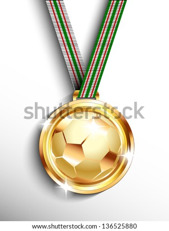 Gold soccer medal - stock vector