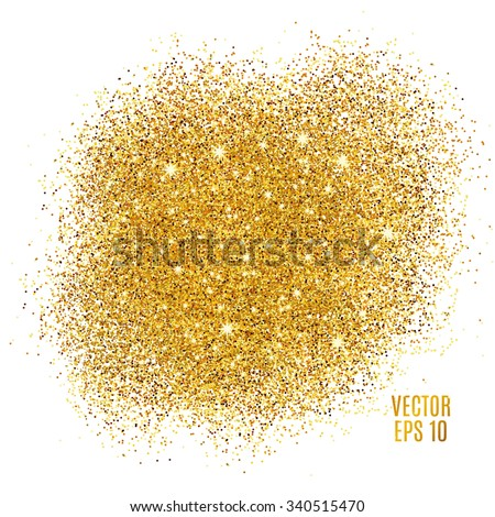 Gold sparkles on white background. Gold glitter background. Gold background for card, vip, exclusive, certificate, gift, luxury, privilege, voucher, store, present, shopping. - stock vector