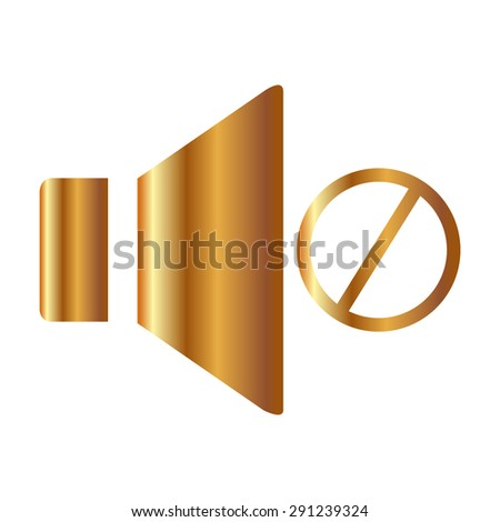 Gold Speaker icon. Vector illustration