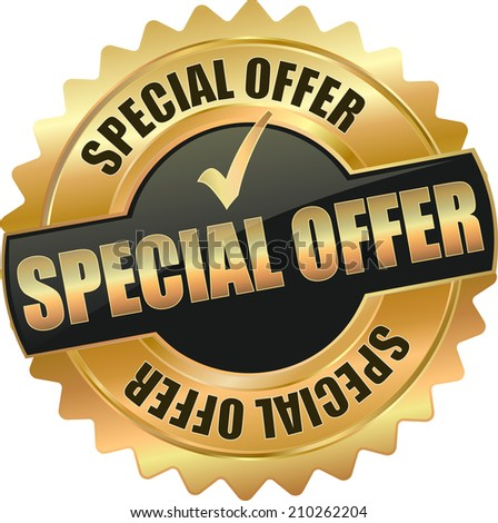 gold special offer sign - stock vector