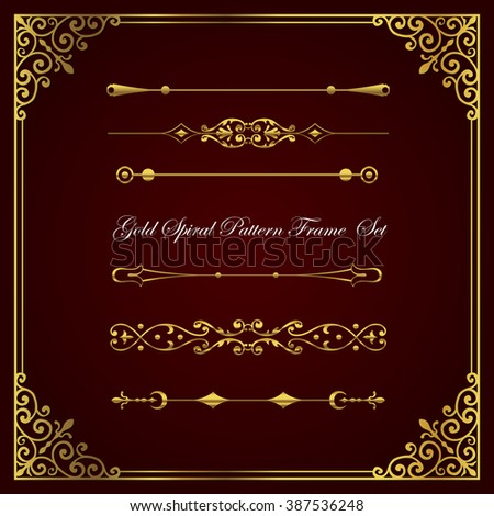 Gold spiral pattern frame and border collection.  - stock vector
