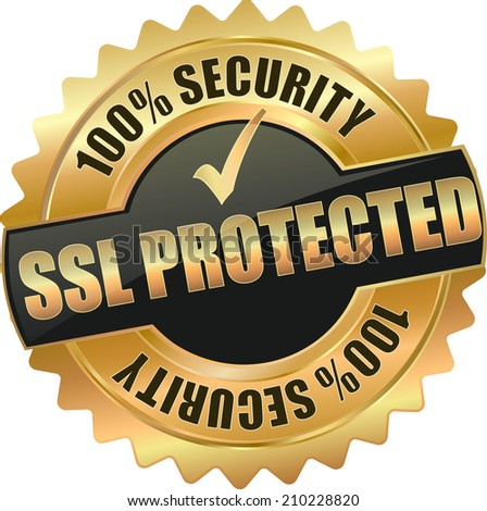 gold ssl protected sign - stock vector