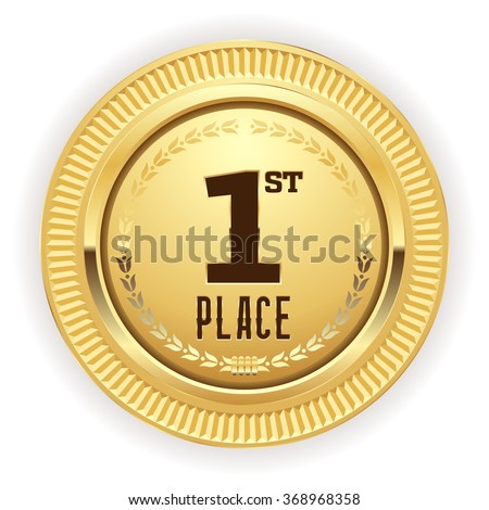 Gold 1st place medaille on white background - stock vector
