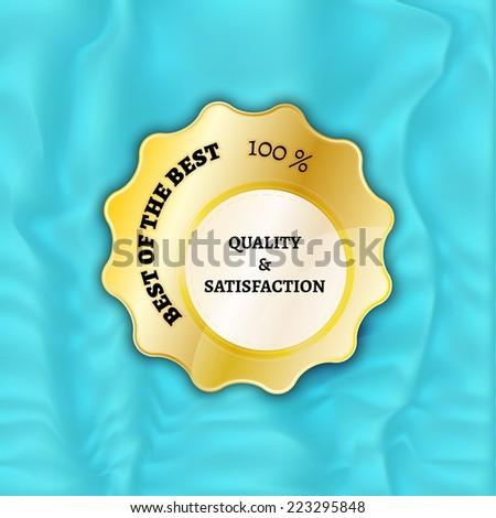 gold stamp, sticker, or label on velvet background - stock vector