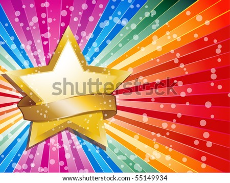 Gold star and banner on a rainbow background