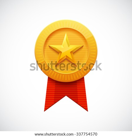 Gold Star Award. Golden Medal with Ribbon for Games. Achievement Icon. Vector illustration. - stock vector
