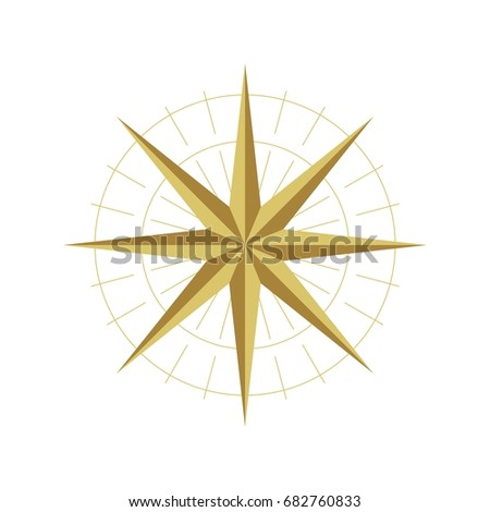 gold star compass rose logo template stock vector 682760833