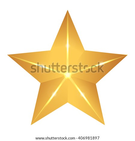 Gold star elegant with flash and glow. Vector illustration