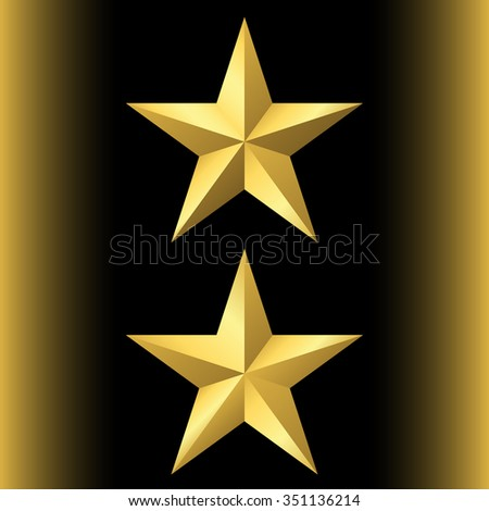 Gold star icon set. Pentagonal sign with gradient. Elegant symbol of achievements, victories. Design element for your logo, Product quality rating etc isolated on black background. Vector illustration - stock vector
