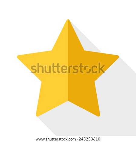 Gold star icon with long shadow on white background