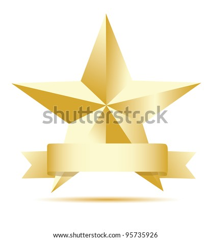 Gold star label. Vector - stock vector