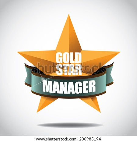 Gold star manager icon symbol. EPS 10 vector, grouped for easy editing. No open shape or paths. - stock vector