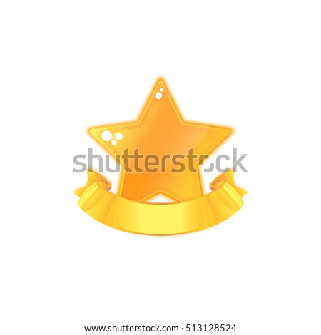 Gold Star Medal and ribbon Isolated on white. Icon design for app, interface, playing card, ui, game, banner. Appraisement. Cartoon Vector illustration.