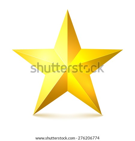Gold star on a white background with shadows. Vector illustration
