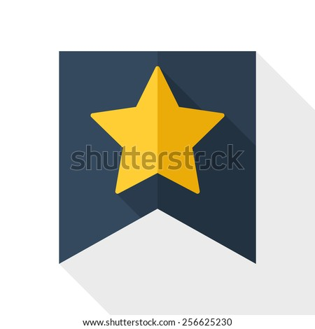 Gold star on the flag icon with long shadow on white background - stock vector