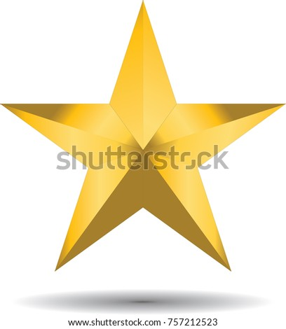 gold star on white background isolate for celebration concept.