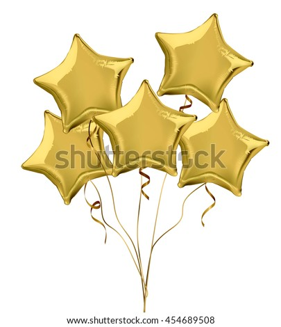 Gold star shaped foil helium balloons. Detailed and realistic Vector illustration - stock vector