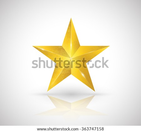 Gold star texture elegant vector 3D style. Vector illustration.