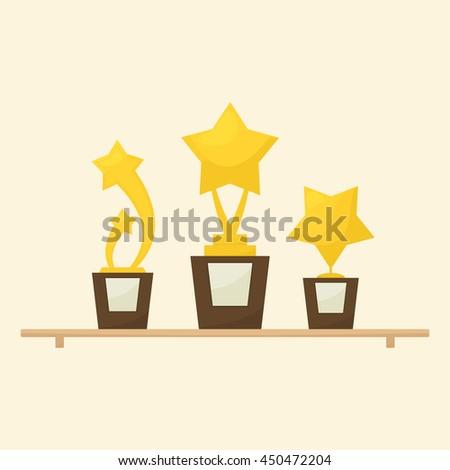 Gold star trophies awards on shelf - stock vector