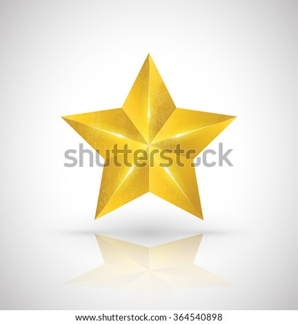 Gold star vector 3D style. Vector illustration. - stock vector