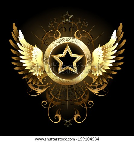 gold star with a circular banner, decorated with golden wings and a pattern on a black background - stock vector