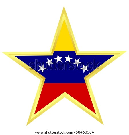 Gold star with a flag of Venezuela - stock vector