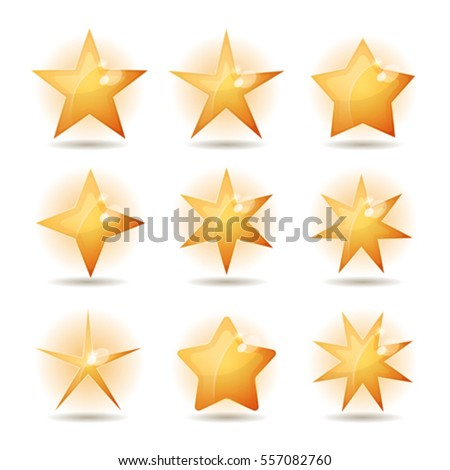 Gold Stars Icons Set/ Illustration of a set of golden stars icons with various shapes