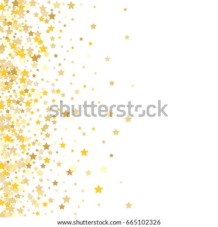 Gold Stars On White Background Vector Stock Vector - Golden gold birthday invitation background