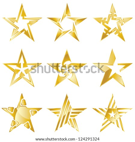 Gold stars original vector logo collection - stock vector