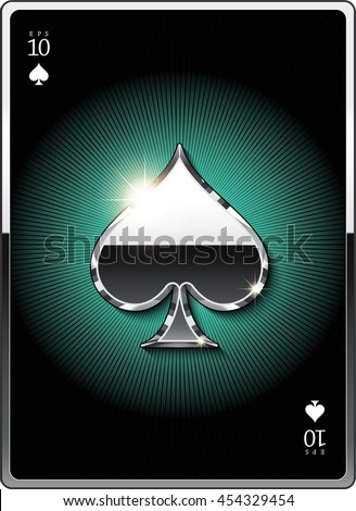 "Gold suit symbol ""spades"" for the design of playing cards and the design of the casino sites. Eps 10"