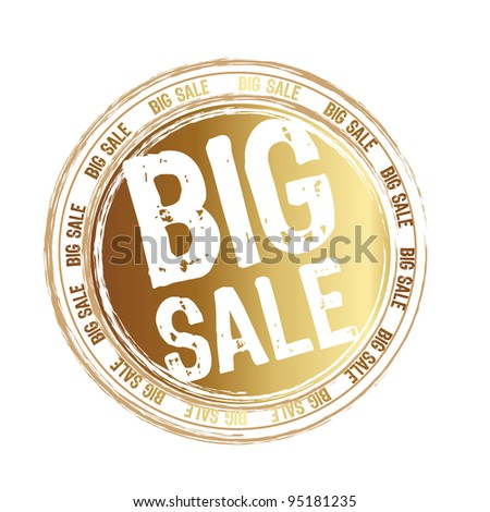 gold tag big sale isolated over white background. vector illustration - stock vector