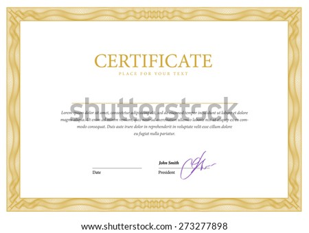 Gold template horizontal Certificate and diplomas. Vector - stock vector