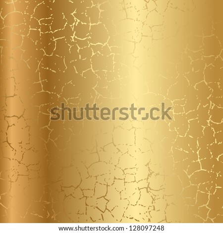 Gold texture with cracks - stock vector