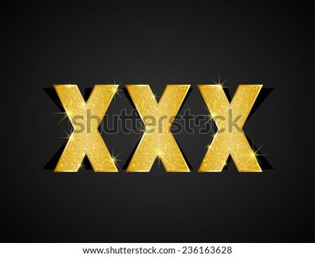 Gold texture XXX text on black background - stock vector