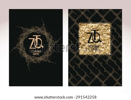 Gold textured business cards - stock vector