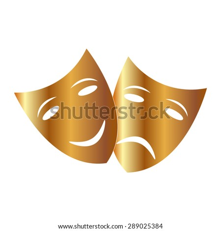Gold Theater icon with happy and sad masks